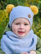 Obrázok z Čiapka s brmbolcami RUŽOVO BIELA na 6-9 mesiacov