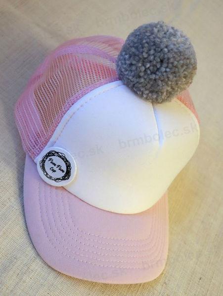 Obrázok z POM Šiltovka ružovo-biela, sivý brmbolec