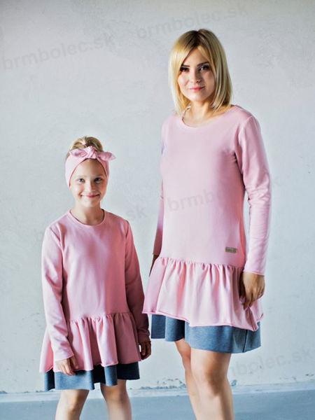 Obrázok z Šaty DIEVČENSKÉ  pink/ dark melange 146/152,158/164