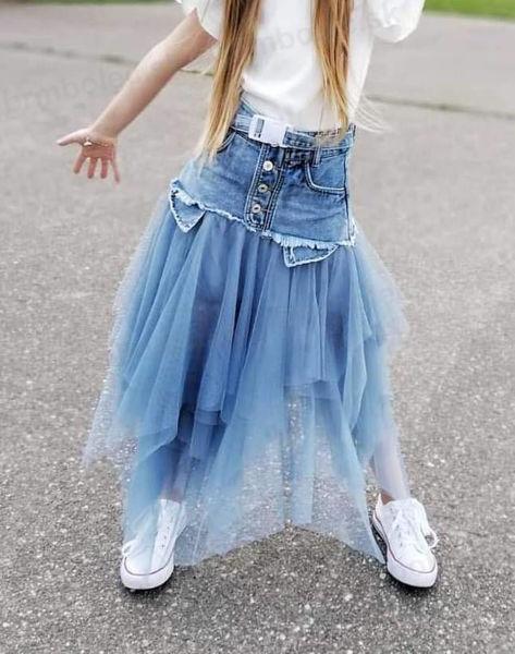 Obrázok z JEANS sukňa MODRÁ s modrým tylom 98-164